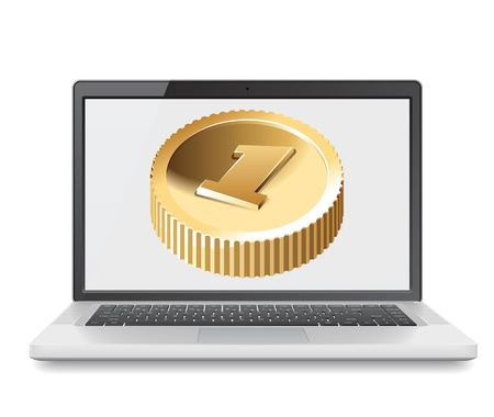 it business: Laptop with coin, web and IT business concept.  illustration. Illustration