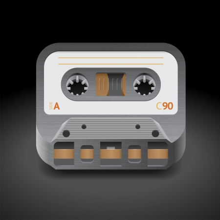 Icon for audio cassette  Dark background  Vector saved as eps-10, file contains objects with transparency Stock Vector - 18873587