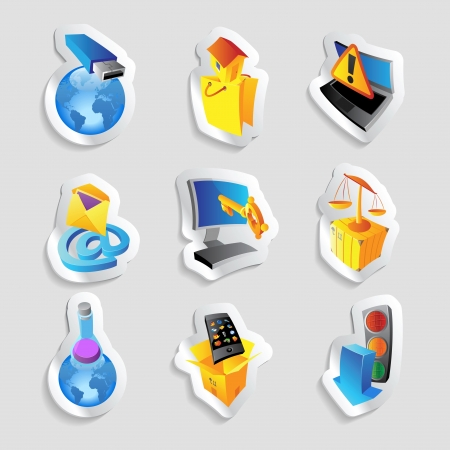 Icons for industry, energy and ecology. Vector illustration.
