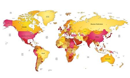 mapa de europa: Mapa del mundo multicolor. Ilustración del vector.