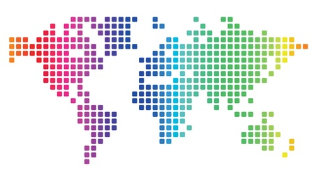 Multicolored dotted world map made of rounded rectangles. Vector illustration. Illustration