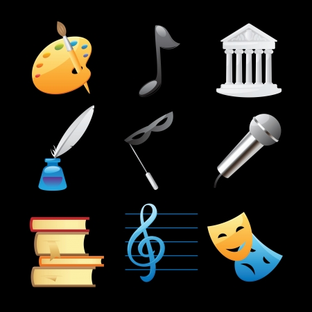Icons for arts  fine arts, music, architecture, poetry, literature, theatre illustration  Vector