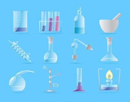 Icone per il laboratorio chimico illustrazione