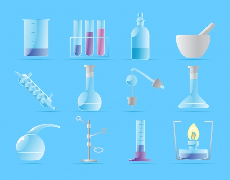laboratory glass: Icons for chemical lab illustration