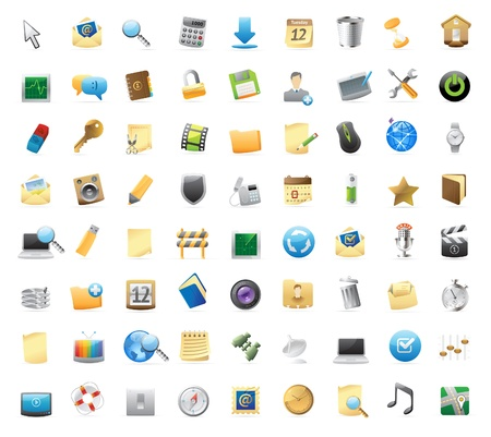 computer icon: 72 detailed icons for signs and interface symbols