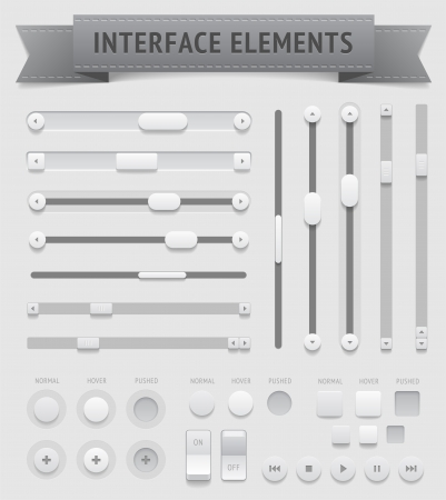 interface buttons: User interface elements  , file contains objects with transparency  shadows etc    Illustration