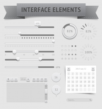 User interface elements , file contains objects with transparency  shadows etc    Vector