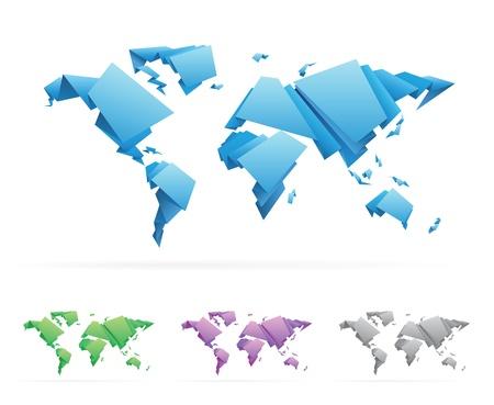 Origami-style World Map illustration,