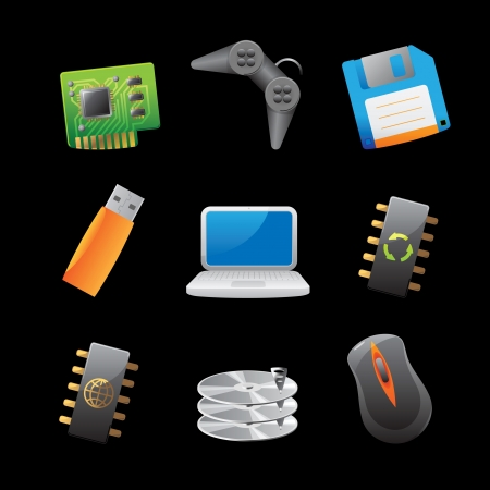 chipset: Icons for computer and computer parts  Vector illustration  Illustration