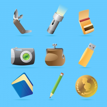pocket flashlight: Icons for personal belongings  Vector illustration