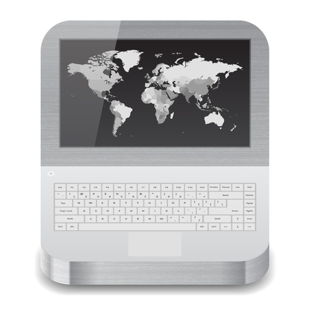 Icon for laptop with world map on display  White background  Vector saved as eps-10, file contains objects with transparency  Vector