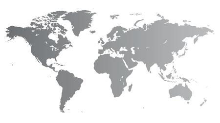 Silver high quality vector map of the World.