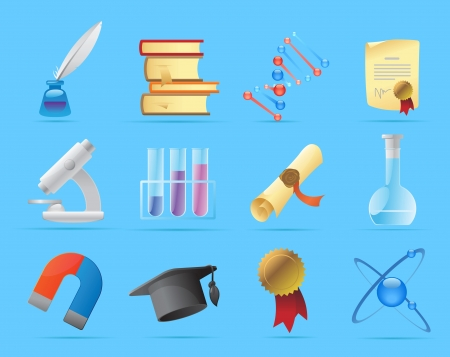ink pen: Icons for science and education  Vector illustration