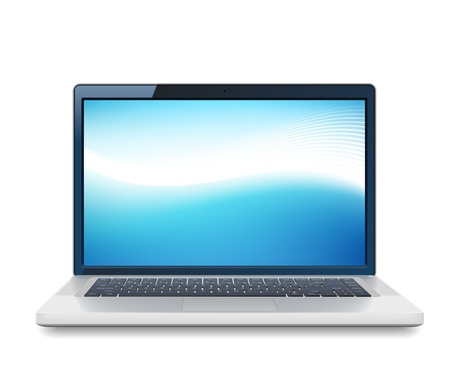high detailed: High detailed vector laptop with abstract colorful background on screen  Illustration