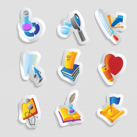 Icons for science, education and medicine. Vector illustration. Stock Vector - 19601839
