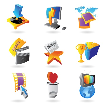 Icons for media, information and entertainment   Vector illustration Stock Vector - 19883685