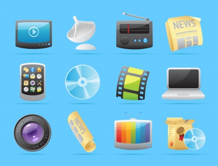 Icons for media  Vector illustration  Stock Vector - 19883688