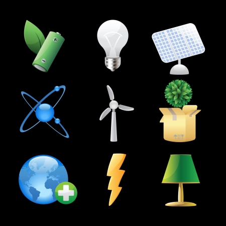 Icons for nature, energy and ecology  Vector illustration  Vector