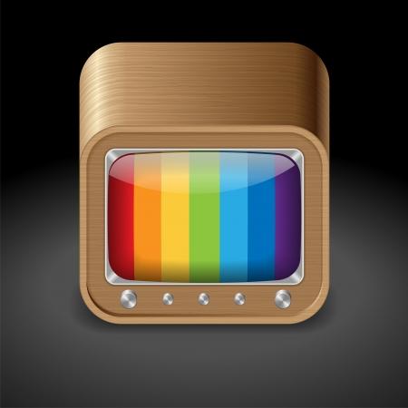 set de television: Icono de la televisi�n de estilo retro en caja de madera de fondo oscuro vector salvado como eps-10, fichero contiene objetos con transparencia