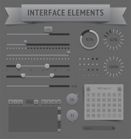scrollbar: User interface elements. Vector saved as EPS-10, file contains objects with transparency (shadows etc.)