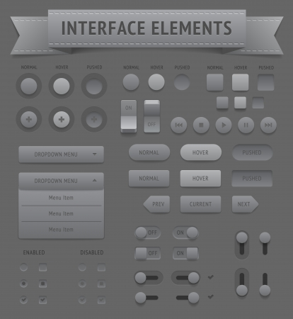 saved: User interface elements. Vector saved as EPS-10, file contains objects with transparency (shadows etc.)