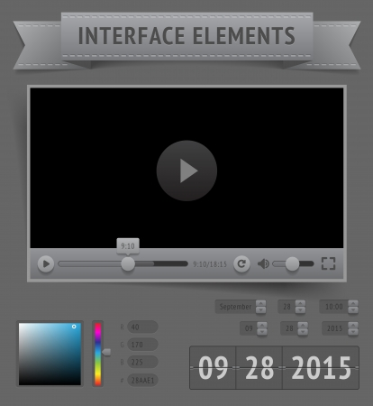 User interface elements. Vector saved as EPS-10, file contains objects with transparency (shadows etc.)  Vector
