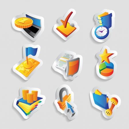 seguridad laboral: Los iconos de negocios y finanzas de ilustración
