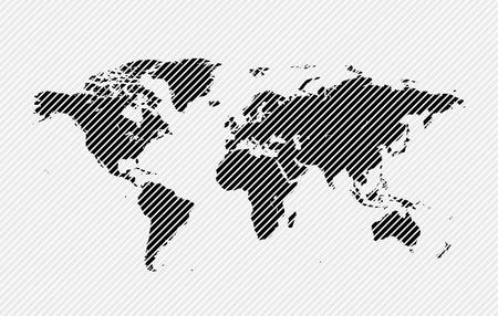 hatched: Hatched world map  illustration
