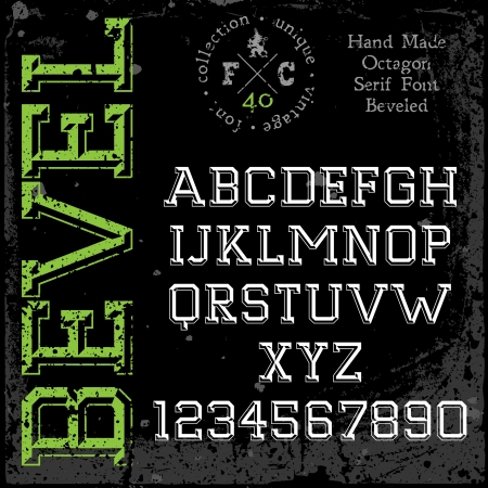 slab: Handmade retro font  Slab serif 3d beveled type  Grunge textures placed in separate layers  Vector illustration