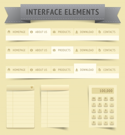 User interface elements, file contains objects with transparency  shadows etc    Vector