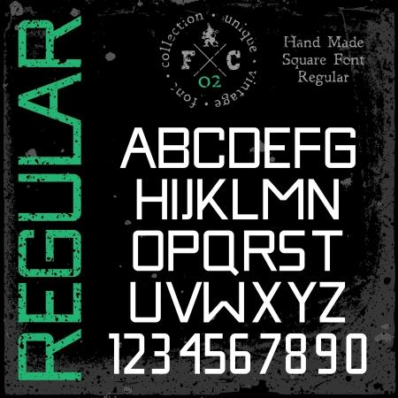 retro font: Retr� caratteri quadrati regolari grunge texture di tipo a mano disposti in strati separati, vettore, illustrazione