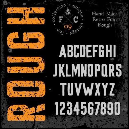 retro font: Retro dei font Handmade di tipo grezzo texture Grunge disposti in strati separati illustrazione vettoriale