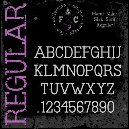 retro font: Texture retr� carattere grunge handmade collocati in strati separati illustrazione vettoriale