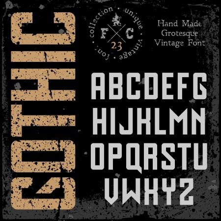 retro font: Carattere retro a mano. Sans serif tipo. Grunge texture disposte in strati separati. Illustrazione di vettore.