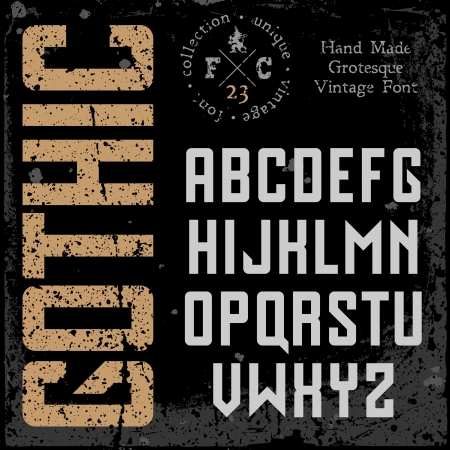 sans: Handmade retro font. Sans serif type. Grunge textures placed in separate layers. Vector illustration.