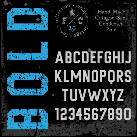 serif: Handmade retro font. Sans serif condensed type. Grunge textures placed in separate layers. Vector illustration. Illustration