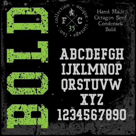 retro font: Carattere retr� a mano. Slab serif tipo condensato. Grunge texture disposti in strati separati. Illustrazione di vettore.