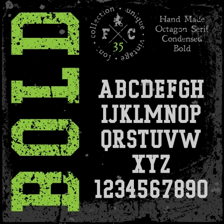 slab: Handmade retro font. Slab serif condensed type. Grunge textures placed in separate layers. Vector illustration.