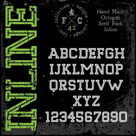 retro font: Carattere retro a mano. Slab Serif tipo inline. Grunge texture disposte in strati separati. Illustrazione di vettore. Vettoriali