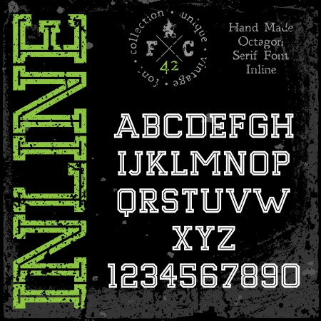 serif: Handmade retro font. Slab serif inline type. Grunge textures placed in separate layers. Vector illustration.
