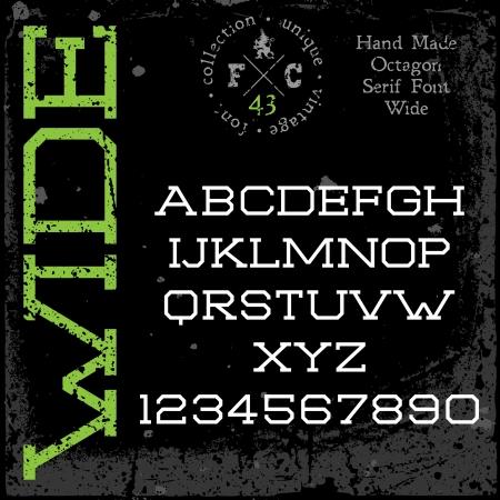 retro font: Carattere retr� a mano. Tipo di ampia Slab serif. Grunge texture disposti in strati separati. Illustrazione di vettore. Vettoriali