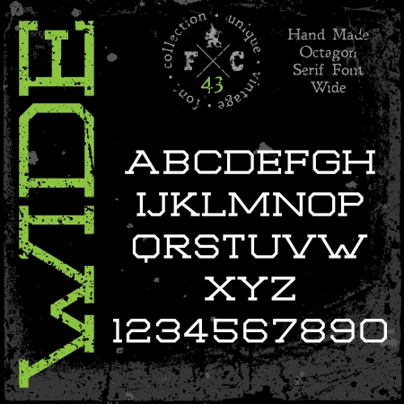slab: Handmade retro font. Slab serif wide type. Grunge textures placed in separate layers. Vector illustration.