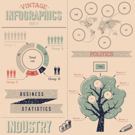 Vintage infographics design elements. Grunge texture placed in separate layer. Fully editable vector illustration. Stock Vector - 22099135