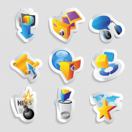 Icons for leisure, travel, sport and arts. Vector illustration. Vector