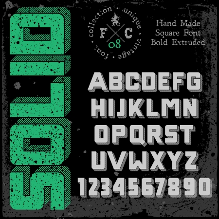 Handmade retro font  3d extruded type  Grunge textures placed in separate layers  Vector illustration  Stock Vector - 22587562