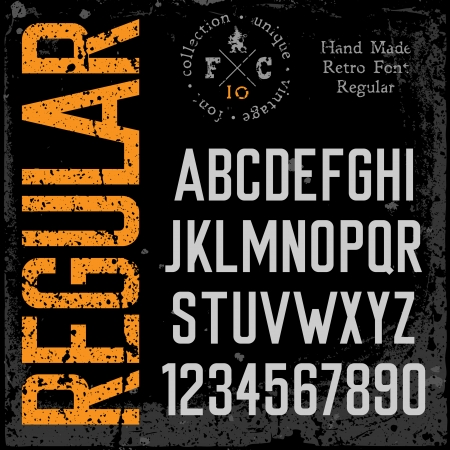 serif: Handmade retro font  Grunge textures placed in separate layers  Vector illustration