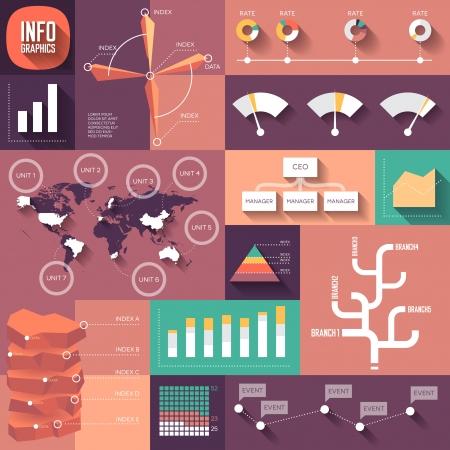 planos: Infografías de diseño plano con las sombras largas