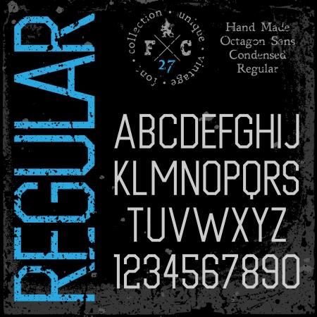 condensed: Handmade retro font. Sans serif condensed type.