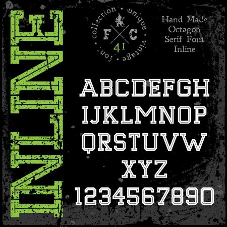 retro font: Carattere retr� a mano. Slab serif tipo inline.