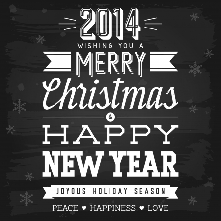 Christmas and New Year greetings chalkboard  vector with transparency